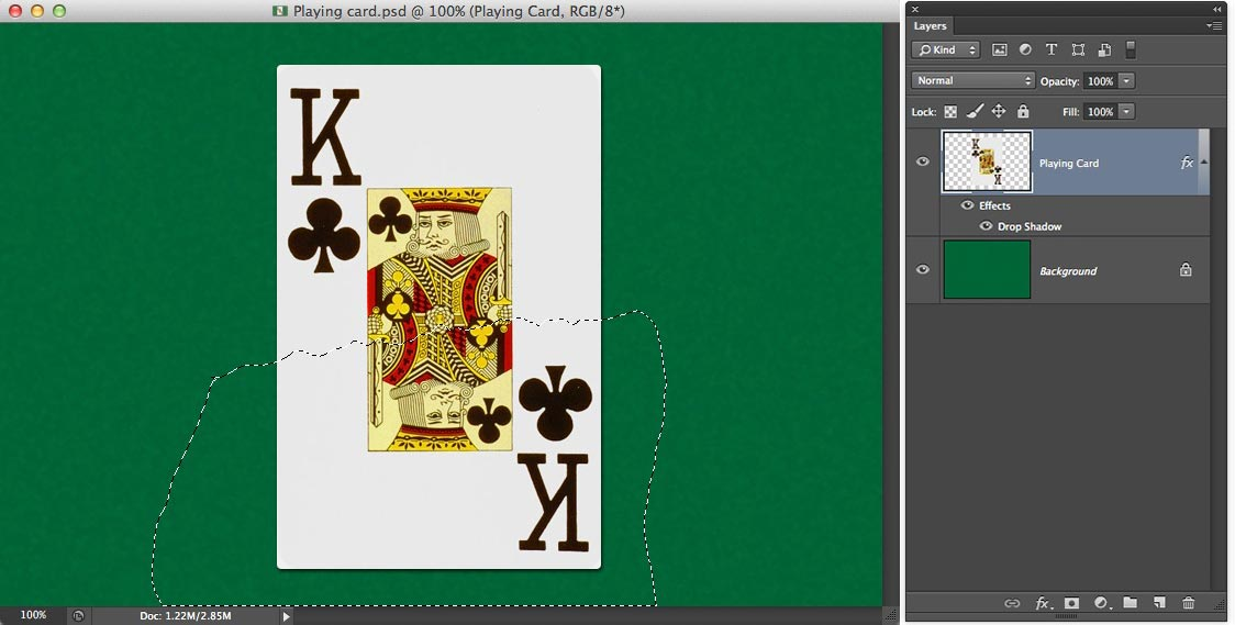 Image showing a selection being made around a playing card in Photoshop