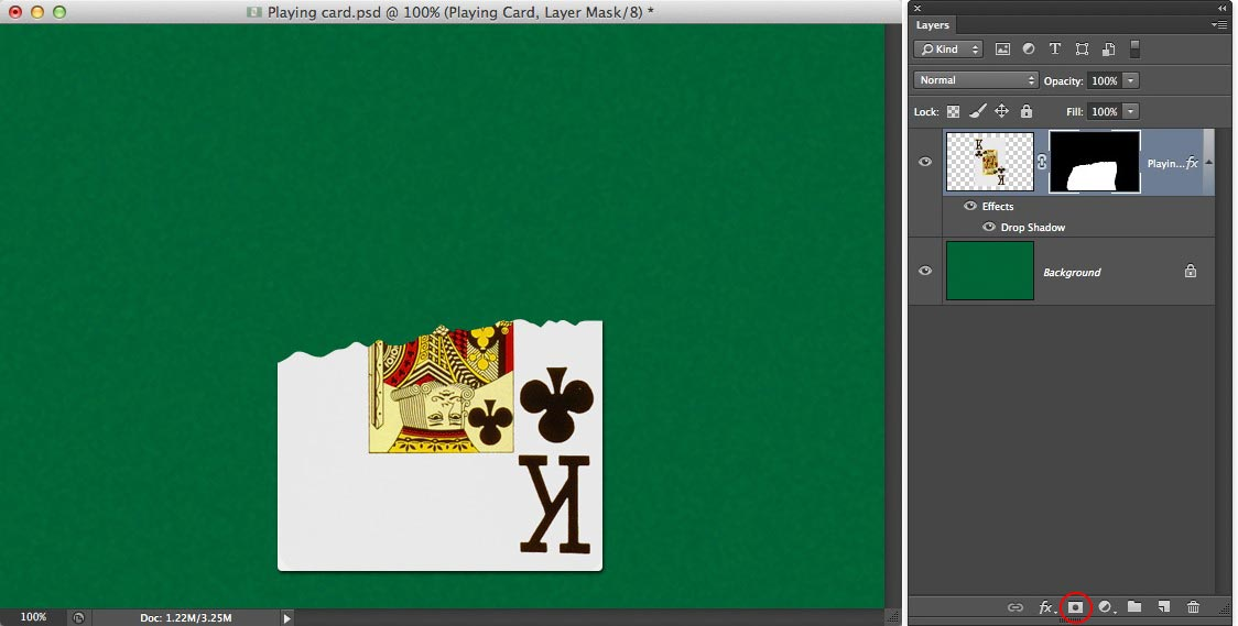 Image showing half a playing card and the layers panel with a mask