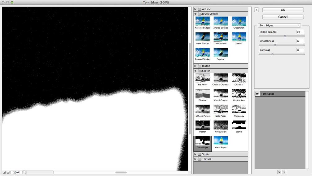 Image showing the adjusted settings of the Torn Edges filter in the Photoshop Filter Gallery