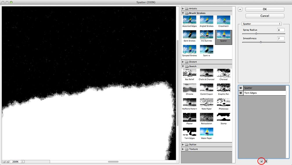 Image showing the settings for the Spatter filter in the Photoshop Filter Gallery
