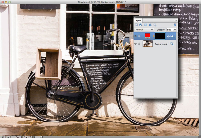 Inverting the mask to hide the overlay in Photoshop Elements 11