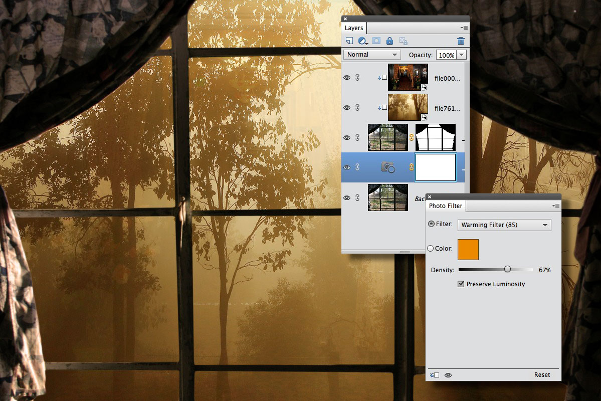 Warming up the image with a Photo Filter adjustment layer