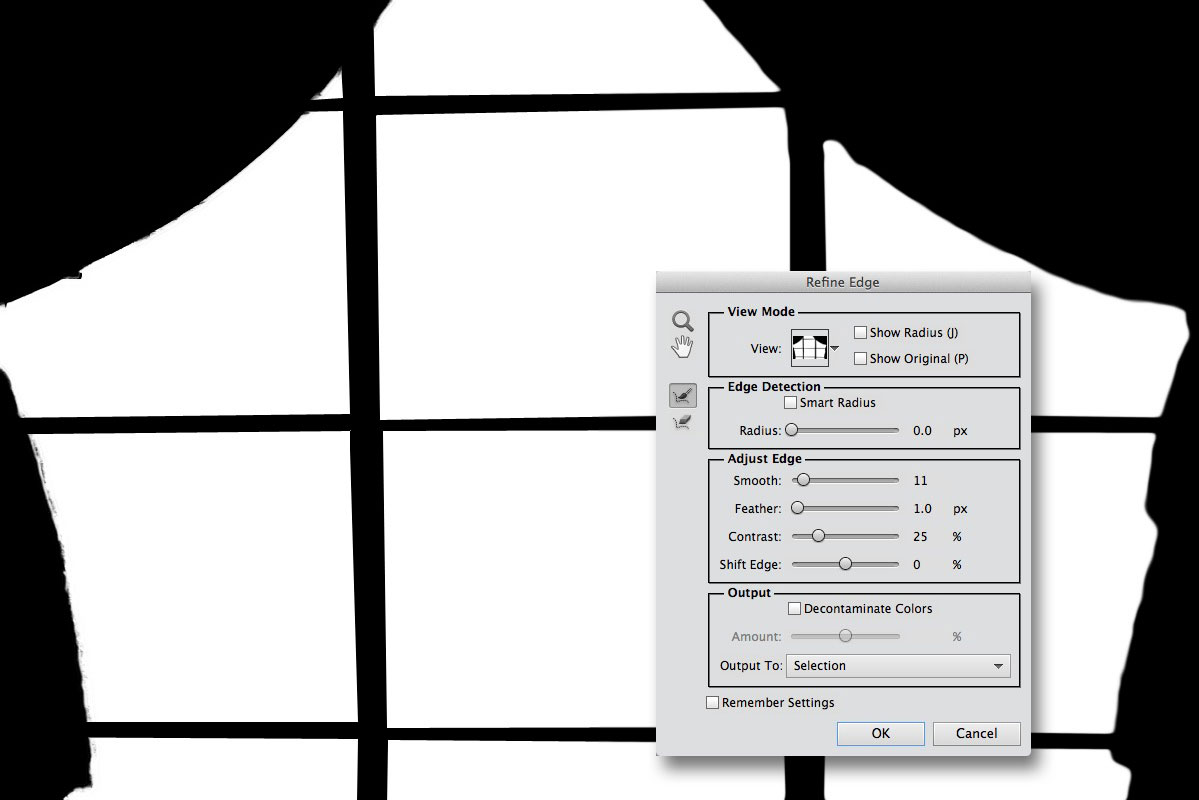 Using Refine Edge to tidy up a selection in Photoshop Elements 11