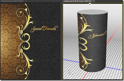 wrap a 2d image onto a 3d cylinder in photoshop