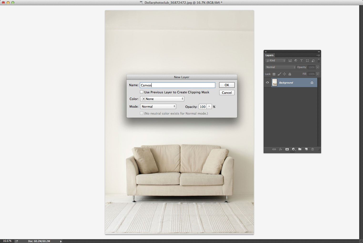 Create a new blank layer on an image in Photoshop CC
