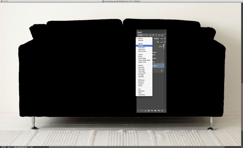 Image showing the Multiply blend mode selected in Photoshop CC