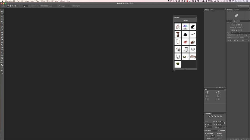 The PixelSquid extension image grid view